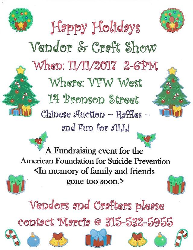 Happy holidays vendor craft show saturday november 11 for Vendors wanted for craft shows 2017
